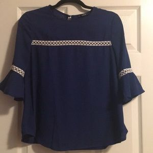 Blue 3/4 sleeve blouse
